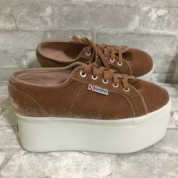 70c6282f78a Superga 2802 Velvet Super Platform Sneakers. M 5c36d5f6c89e1d0cf7d49e01
